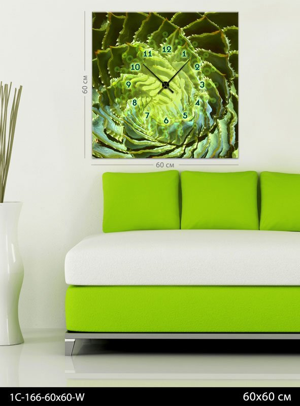 Картина-часы Зеленая абстракция, код 1С-166-60х60-W