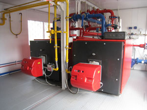 UKTM modular boilers (200 kW ... 30 MW) for heating and domestic hot water, municipal and industrial facilities. Boiler rooms are fully assembled and tested at the factory. Favorably with those of other high-efficiency, reliability