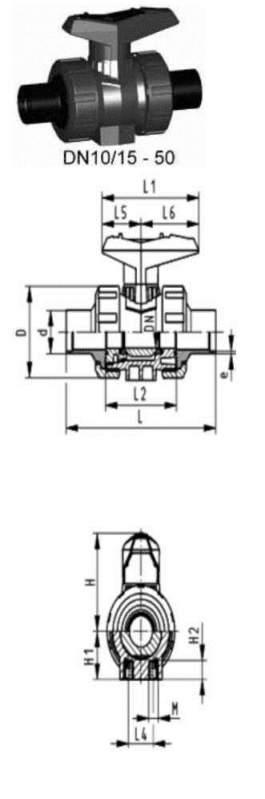 Купить Шаровой кран тип 546 PVC-UС монтажными вставками
