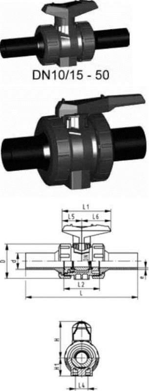 Купить Шаровой кран тип 546 PVC-UБез монтажных вставок