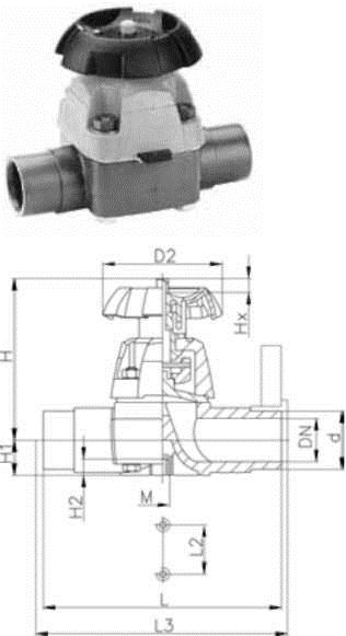 Buy The membrane valve type 315, PVC-U With branch pipes for glue connection, metric