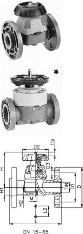 Купить Мембранный клапан тип 317, PVC-UС фланцами из PVC-U, метрическими
