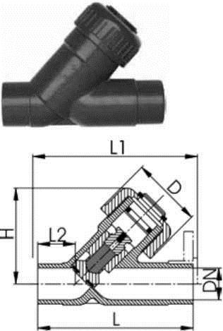 Купити Угловой обратний клапан тип 303, PVC-UС патрубками для клеевого соединения, метрическими