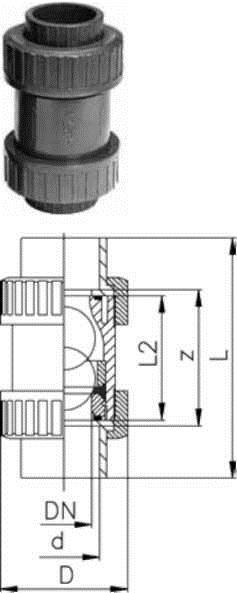 Купить Шаровой обратный клапан тип 360, PVC-UС раструбами для клеевого соединения, метрическими