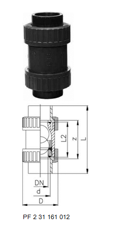 Buy Ball check valve type 360 PVC-US bells for butt welding, PE80 metric :