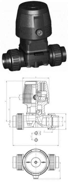 Buy DIASTAREco type diaphragm valve, PVC-U FC (normally closed) with bushings with bells for glutinous connection, metric