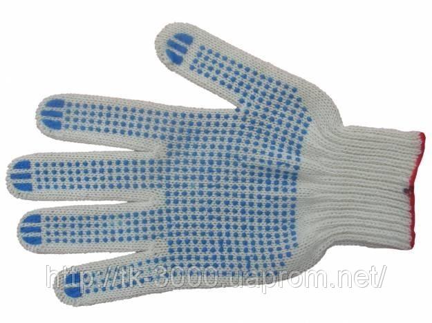 Перчатки трикотажные с ПВХ точкой плотные.