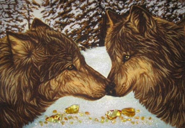 Картины из янтаря животные цветы