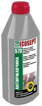 Купить ПРЕОБРАЗОВАТЕЛЬ РЖАВЧИНЫ. ECOSEPT – 570 - средство для удаление ржавчины с металлических, бетонных, каменных, керамических и эмалированных поверхностей, препарат на водной основе.