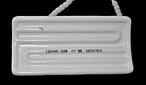 Инфракрасный керамический нагреватель дугообразный половинный  H.T.E. 122x60mm 325W 230V
