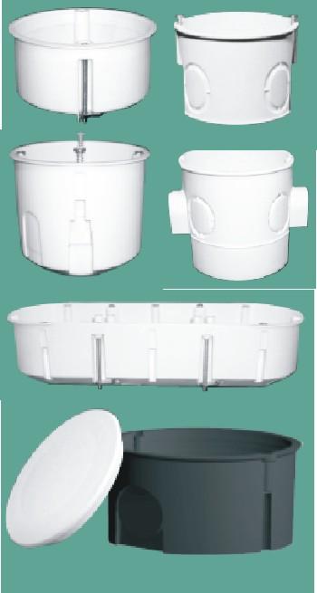 Коробки електроинсталляционние одинарні, модульні, багатомісні. Електро-пласт