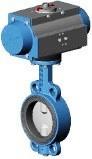 Затвор дисковый поворотный межфланцевый с пневмоприводом Ду300 Ру16