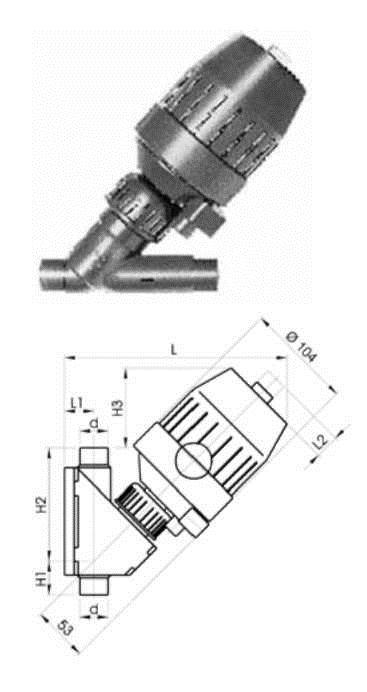 Купить Угловой клапан тип 211, PVC-U DA(двойного действия)