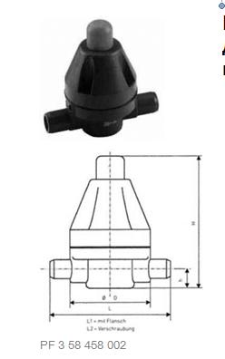 Купить Клапан поддержания давления тип V 186, PVC-UС патрубками для клеевого соединения