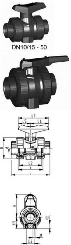 Купить Шаровой кран тип 546, PVC-U, SFс монтажными вставками