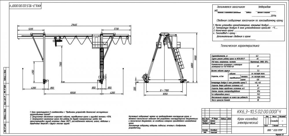 Кран козловой крюковой грузоподъемность до 6.3 тонн пролетом до 10.5 метров