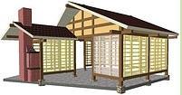 Деревянная беседка в Японском стиле