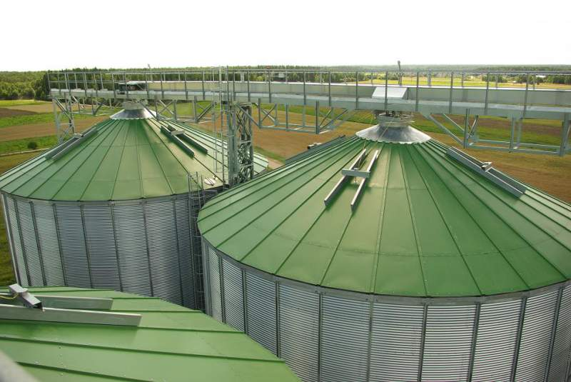 Silos on the concrete base, granaries from the ventilated (aired) silos