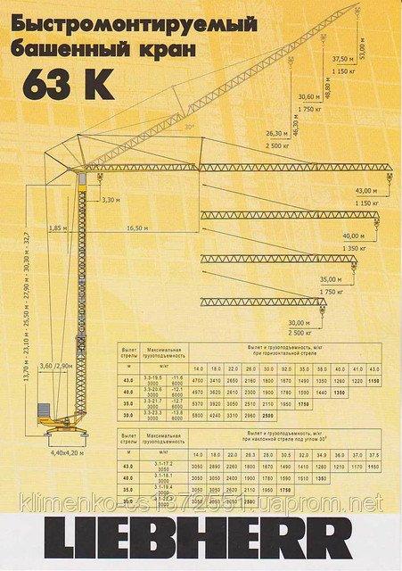 Купити Оренда баштового крана Liebherr 63K