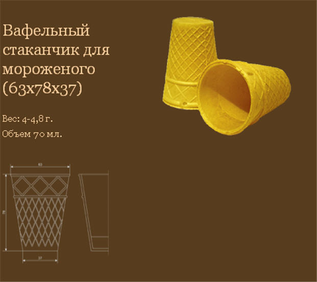 Buy Wafer cup for ice cream 63x78x37