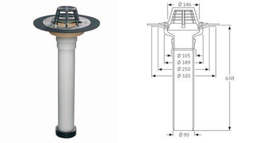 SitaSani Ремонтная воронка для ремонта труб и воронок, с фартуком их битума DN110. Арт. 103200