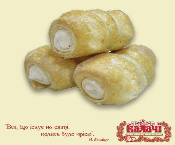 Трубочка листкова з кремом Іриска, пирожные опт от производителя, кондитерское предприятие КАЛАЧИ