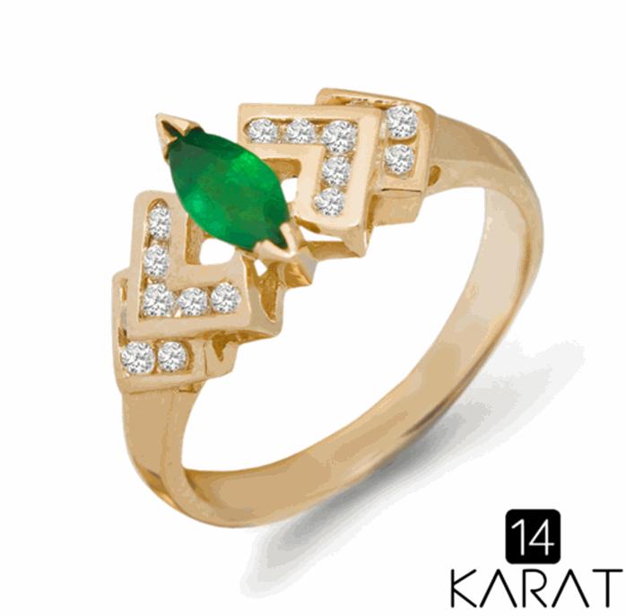 Золотое кольцо с изумрудом и бриллиантами 0,20 карат (Код  14834 ... 7647b656cc1