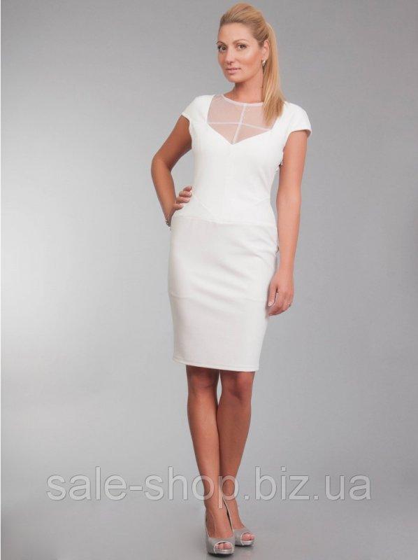 c89e7ef3768d8e Біле плаття прилягаючого силуету Артикул 9860 купити в Одеса