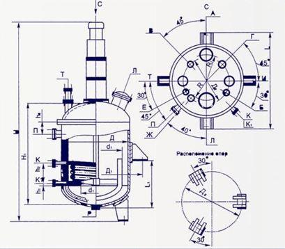 Аппарат с Эллиптическим днищем и крышкой для  различных химических процессов
