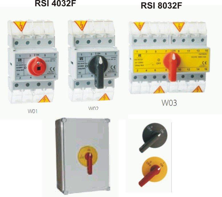 Выключатели нагрузки для солнечных фотоэлектрических батарей.  32A. RSI4032F, RSI8032F. СПАМЕЛ