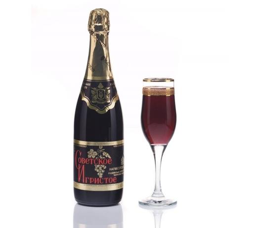Вино мускатное игристое розовое «Советское Игристое» (сладкое).