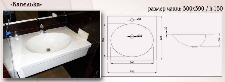 Купить Столешница из искусственного камня для ванной
