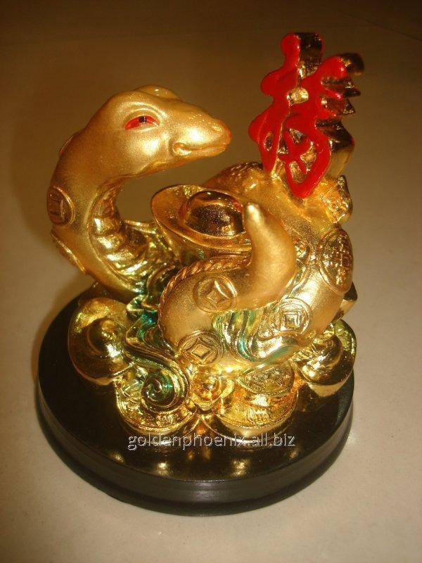 Сувенир Змея золотая с иероглифом
