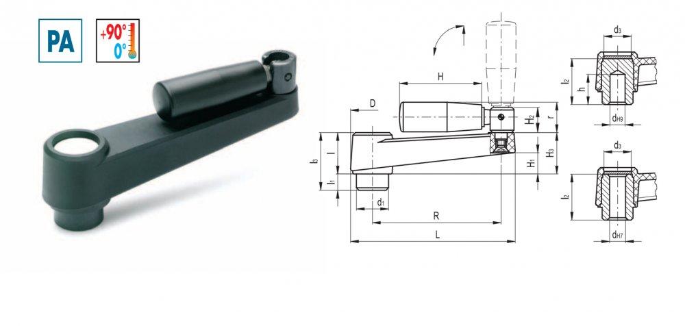 Купить Рукоятка угловая с откидной ручкой MT.80+IR
