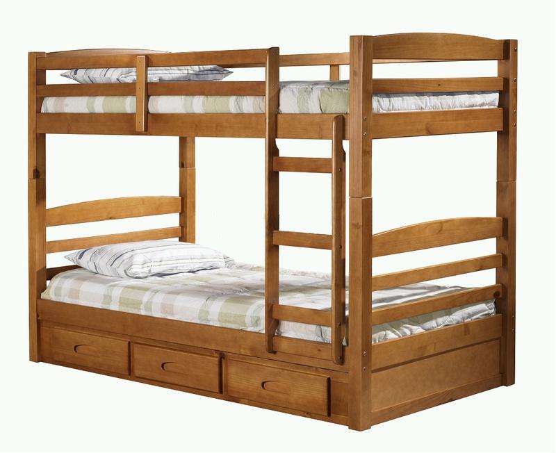 Кровать двухярусная Классика из натурального дерева - сосна.