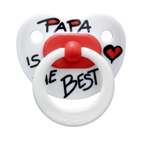 "Пустышка Bibi силиконовая, 12-36 мес. (L) ""Papa is the Best"" 110076, Швеция"