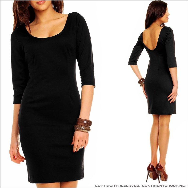 Купить UTCG Черное платье с рукавом три четверти 152684