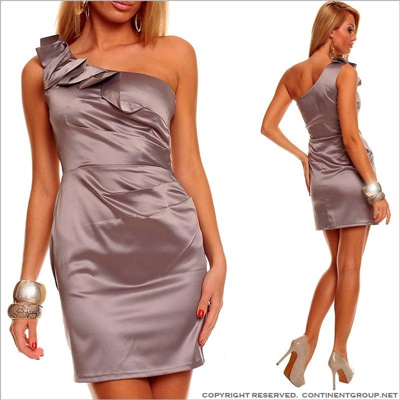 Купить UTCG Серое платье на одно плечо 152537