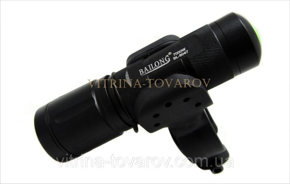 Велосипедный фонарик Bailong BL-8047, диод Osram led