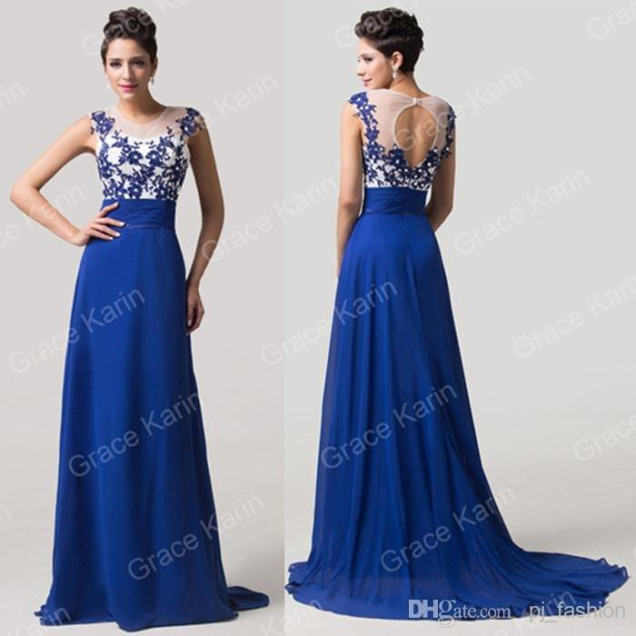 4a4576b8b45ced Синє вечірнє випускне плаття від Grace Karin. Великий вибір платтів ...