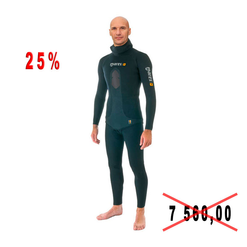 Diving suit for spearfishing of Mares INSTINCT SMOOTH SKIN, 3 mm, river the 4th nylon / smooth