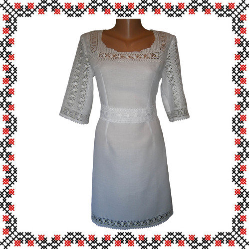 Весільне плаття ручної роботи з домотканого полотна з лавсаном Мережка e351946086486