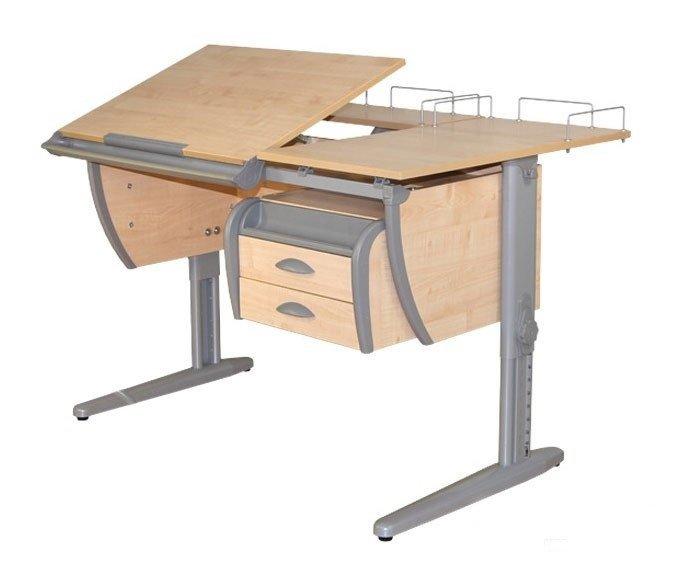 Купить Детская парта растишка стол трансформер Demi СУТ17-04 (клен\серый) с навесным ящиком, раздельной столешницой