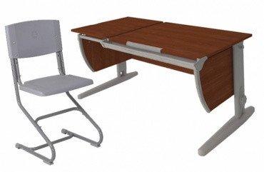 Купить Детская парта растишка стол трансформер Demi СУТ17-00 (кальвадос\серый) раздельной столешницой и стулом