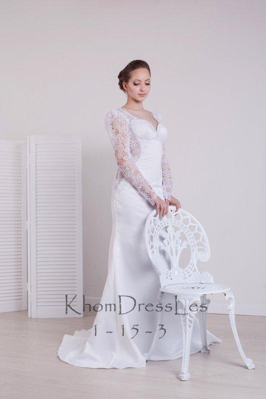 1531706469a3c4b Свадебное белое платье прямого силуэта со шлейфом и длинным рукавом во  Львове