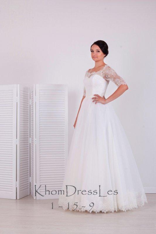 Свадебные платья рукав три четверти