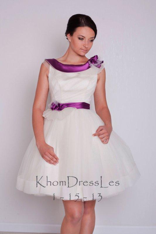 Коротке пишне плаття з ліловим поясом і коміром купити в Львів 8666995a85ff3