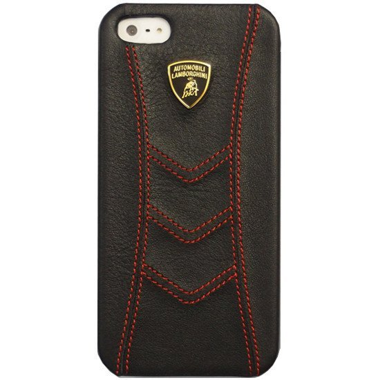 save off 81b87 56019 Cover of iMobo Lamborghini Genuine Leather Flip Case for iPhone 5  (black/red)