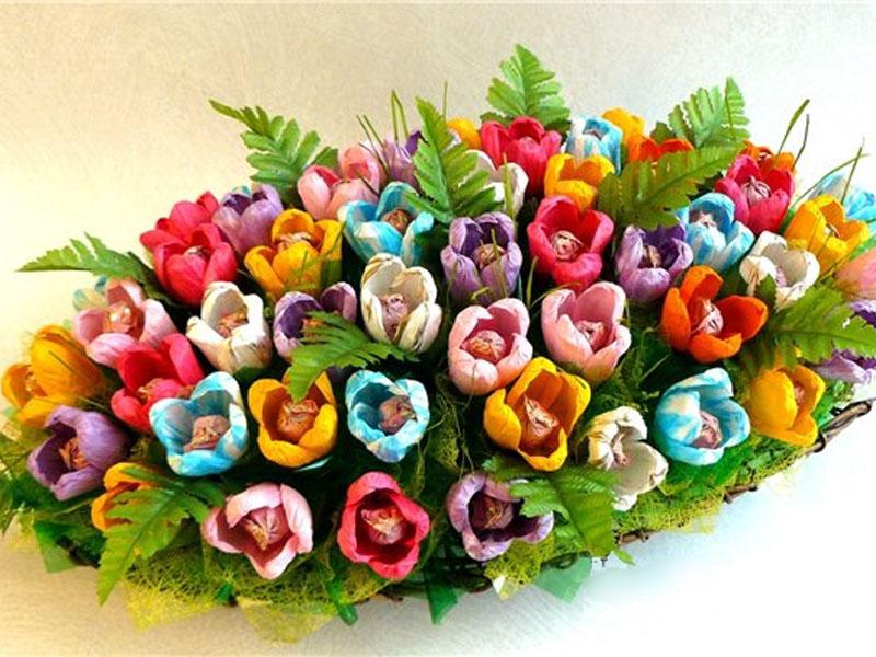 из конфет букеты цветов фото