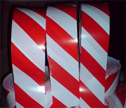 Лента сигнальная красно-белая шириной 75мм в бобинах